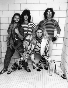 Van Halen photographed in the shower backstage at