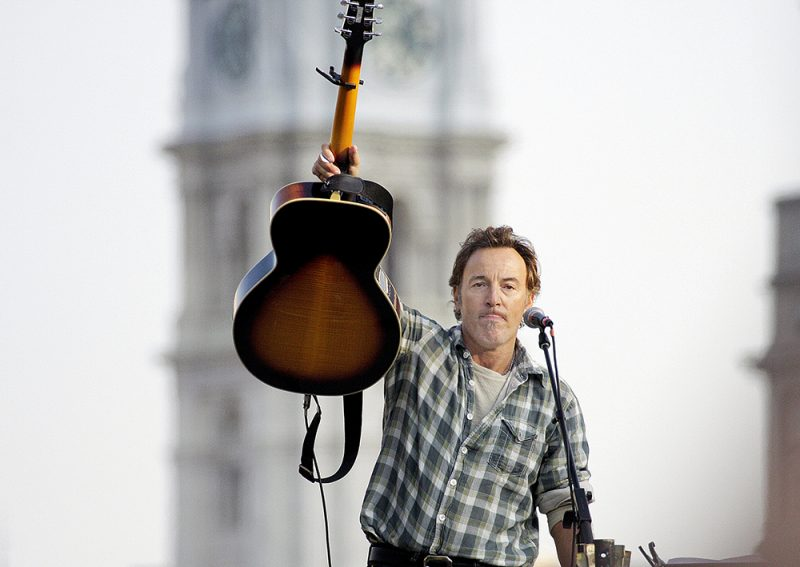 Bruce Springsteen performing at a rally for Barack Obama in Philadelphia