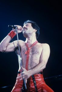 Freddie Mercury performing with Queen