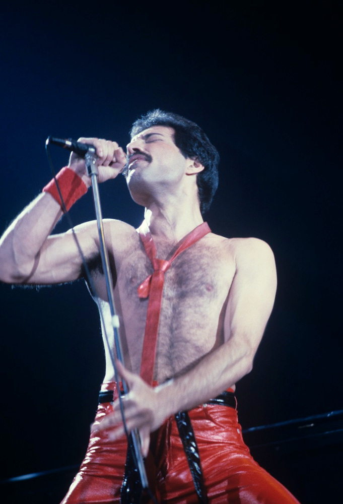 Freddie Mercury performing with Queen
