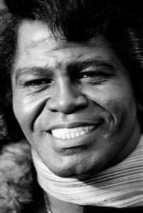James Brown photographed during a radio interview to promote a record
