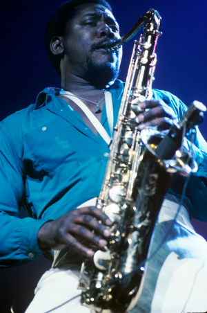 Clarence Clemons playing the saxophone during a Bruce Springsteen concert