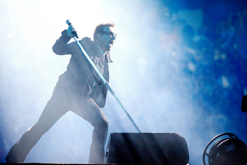 Bono performing with U2