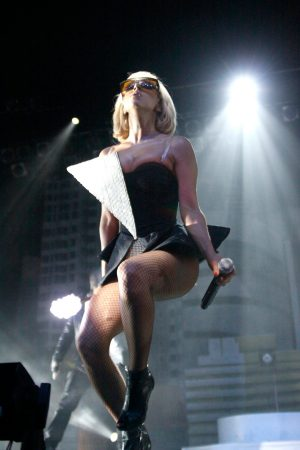 Lady Gaga performing in Philadelphia