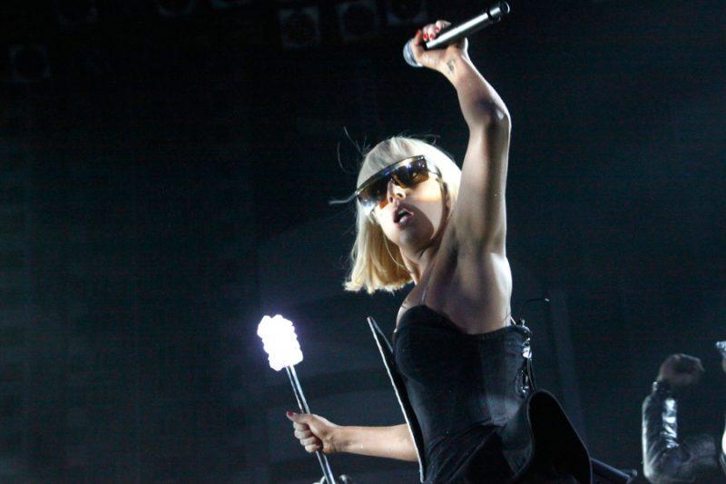 Lady Gaga performing in Philadelphia